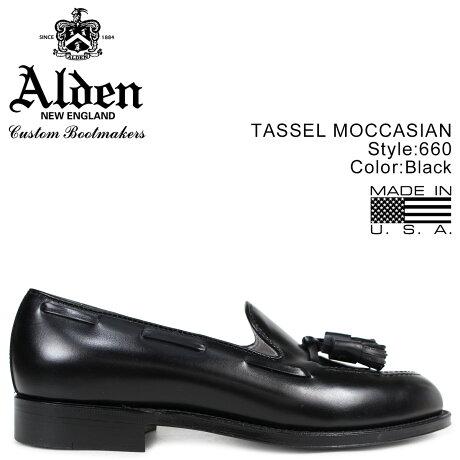 ALDEN オールデン ローファー タッセル シューズ メンズ TASSEL MOCCASIN ブラック Dワイズ 660 [7/3 追加入荷]
