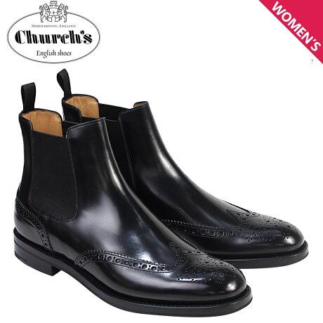 チャーチ Churchs 靴 レディース ブーツ サイドゴア ショートブーツ ウイングチップ Ketsby WG Polish Binder Calf 8706 DT0001 ブラック [予約 2/26 追加入荷予定]