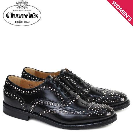 チャーチ Churchs 靴 レディース バーウッド シューズ ウイングチップ メット Burwood Met Polish Binder Calf 8746 DE0002 スタッズ ブラック [予約 2/26 追加入荷予定]