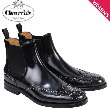チャーチ Churchs 靴 レディース ブーツ サイドゴア ショートブーツ ウイングチップ Ketsby Met Polish Binder Calf 8748 DT0004 スタッズ ブラック [予約 2/26 再入荷予定]