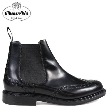 Church's 靴 チャーチ ブーツ サイドゴア ショートブーツ ウイングチップ メンズ KETSBY CHELSEA BOOTS ブラック ETB001 [3/15 新入荷]