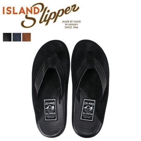 アイランドスリッパ ISLAND SLIPPER メンズ サンダル トングサンダル スエード レザー TWO TONE SUEDE THONG ブラック PB205 [7/4 追加入荷]
