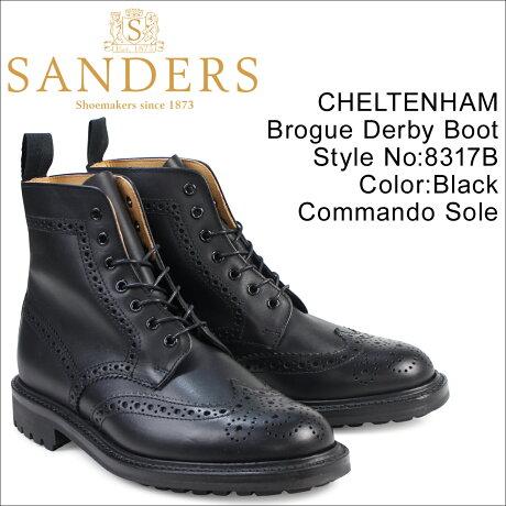 SANDERS 靴 サンダース ミリタリー カントリーブーツ CHELTENHAM 8317B メンズ ブラック [予約商品 3/22頃入荷予定 再入荷]