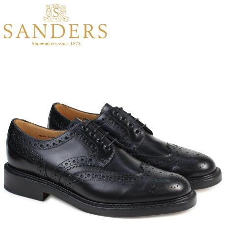 SANDERS 靴 サンダース ミリタリー オックスフォード シューズ ウイングチップ ビジネス FAKENHAM 9317B メンズ ブラック [予約商品 3/22頃入荷予定 追加入荷]