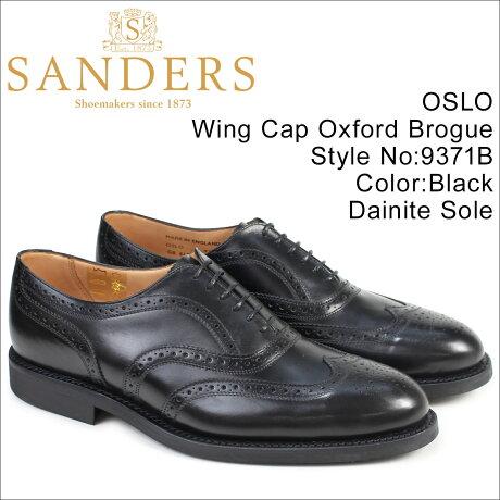 SANDERS 靴 サンダース ミリタリー オックスフォード シューズ ウイングチップ ビジネス OSLO 9371B メンズ ブラック [予約商品 3/22頃入荷予定 追加入荷]
