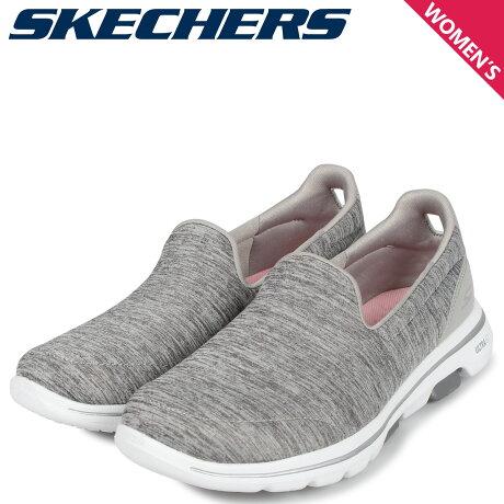 スケッチャーズ SKECHERS ゴーウォーク 5 スリッポン スニーカー レディース GO WALK 5 HONOR グレー 15903 [10/3 新入荷]
