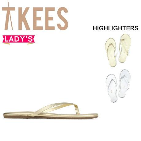 ティキーズ Tkees サンダル ビーチサンダル レディース HIGHLIGHTERS レザー ゴールド シルバー [6/5 新入荷]