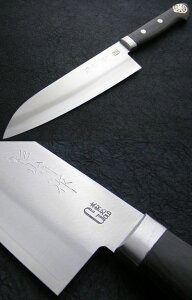 三徳包丁・ステンレス鋼割り込み(両刃作りですから、左利きの方でもOKです。)