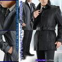 ボンディング素材 シングルトレンチコート(メンズコート 黒 ブラック グレー シルバーグレー 通勤コート)