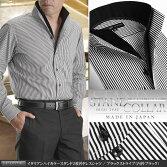 【日本製・綿100%】イタリアンハイカラー・スタンド2枚衿メンズドレスシャツ・ブラックストライプ(内衿ブラック)【Leorme】(ワイシャツ長袖パーティー2次会Yシャツ)