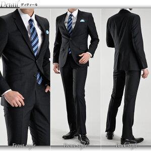 ナローラペル2ツボタンスタイリッシュスーツ(春夏物パンツウォッシャブル機能プリーツ加工メンズスーツスリムスーツビジネススーツ紳士服)suit【送料無料】02P07Feb16