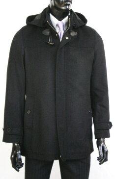 ウール100% ショート丈着脱可能フード付コート
