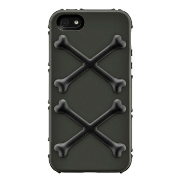スマホケース カバー iPhoneSE(第一世代) 5 5s SwitchEasy ベナムブラック ブラック グレー 黒 灰色 ポリカーボネート PUラバー 帯電防止スクリーン保護フィルム(正面2枚・背面1枚) マイクロファイバークロス BONES SW-BONEI5-BK2