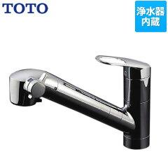 [TKGG38E1] TOTO キッチン水栓 GGシリーズ(エコシングル水栓) シングルレバー混合栓(台付き1穴タイプ) キッチンシャワータイプ(浄水器内蔵) 吐水口:浄水・整流・シャワー 浄水器兼用混合栓 【送料無料】