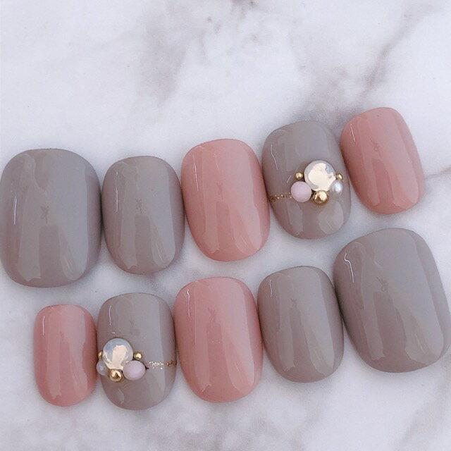 ネイルチップ デザイン つけ爪 かわいい シンプル ピンク