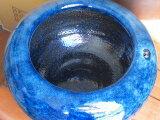 信楽ネイビーブルー火鉢、11号  H330×W250ネイビーブルー(オリジナル)。御使用の仕方によっては、素晴らしい空間が産み出される事と思います。