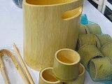 竹製氷入れ、民芸アイスペール,竹ちょこ10ケ、竹トング、竹マドラー浄水竹炭2袋付お買い得商品