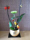 金色花器 信楽焼瀬戸物 H10cm 剣山 敷板付 竹炭浄水5枚付