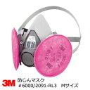アスベスト・ダイオキシン・除染対応 防塵マスク 3M(スリーエム) 6000/2091-RL3 取替え式防じんマスク 半面体