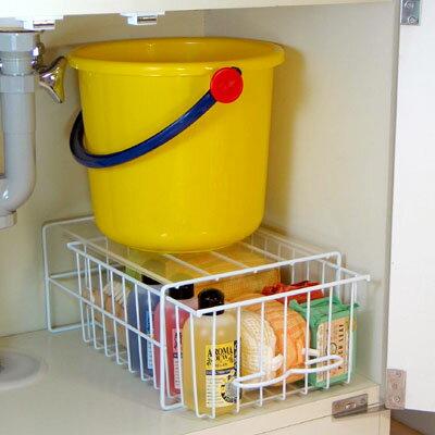 [えつこのすきっとトレー<小>] 収納 洗面台下 洗剤 ボトル ストック品 掃除道具 ホワイト 日本製