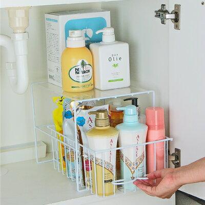[えつこのすきっとトレー<大>] 収納 洗面台下 洗剤 ボトル ストック品 掃除用具 ホワイト 日本製