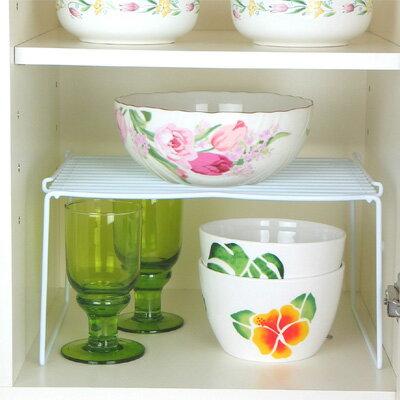 [えつこのワイドステップラック L] 収納 キッチン 食器棚 整理棚 食器 小物 地震対策 ホワイト 日本製