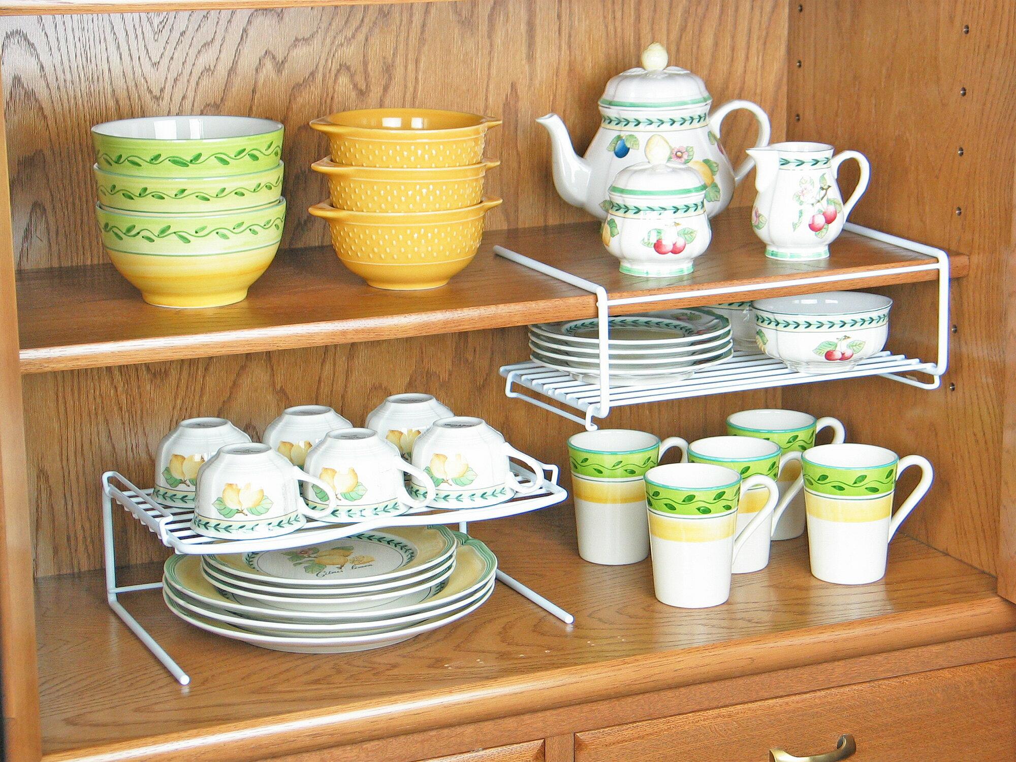 [えつこのニューワイドぺアスタックラック 2個組] 収納 キッチン 食器棚 カップ お皿 小鉢 地震対策 ホワイト 日本製の写真