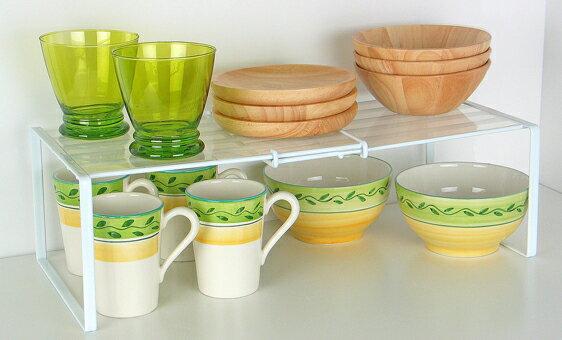 [えつこのスライドフリーラック<プレート付>] 収納 キッチン 食器棚 キャビネット カップ お皿 ホワイト 日本製の写真