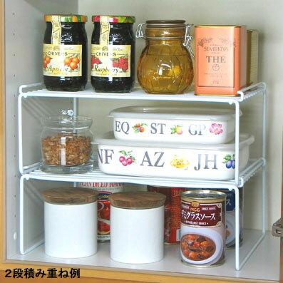 [えつこのワイドステップラック S 2個組] 収納 キッチン 食器棚 整理棚 食器 小物 地震対策 ホワイト 日本製