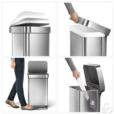 シンプルヒューマンsimplehumanレクタンギュラーステップカン45LステンレスCW2024送料無料ゴミ箱大容量ふた付き