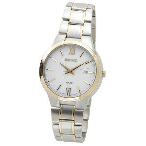 セイコーSEIKOSNE388P1SOLARソーラークオーツホワイト×ゴールドメンズ腕時計