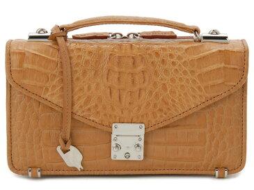 カイマンワニ革 セカンドバッグ メンズバッグ OKU0315HCMMT 本革 財布一体型バッグ キャメル P10SP
