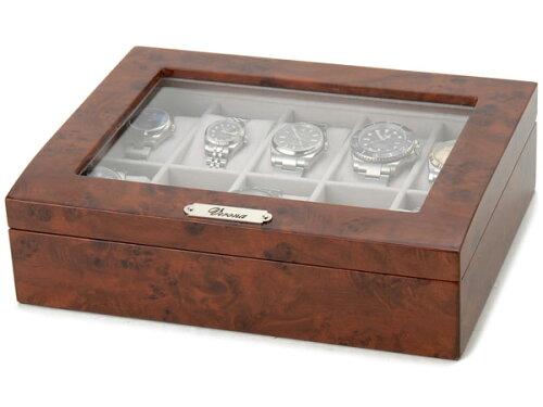 時計収納ケース 腕時計時計コレクションケース ディスプレイケース 木製 ブラウン 10本用 時計雑貨...