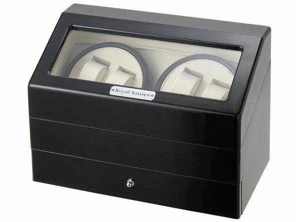 訳ありすりキズ小キズ汚れロイヤルハウゼン時計収納ケース付きワインダー4本巻5本収納SR074BK