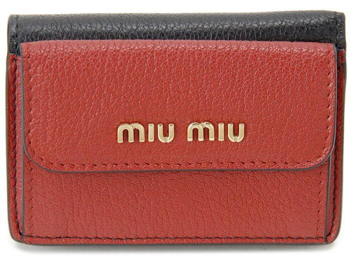 ミュウミュウ MiuMiu 三つ折り 財布 5MH020 2BJI F0LJ4 MADRAS マドラス ブラック×レッド レディース 財布 新品 【送料無料】