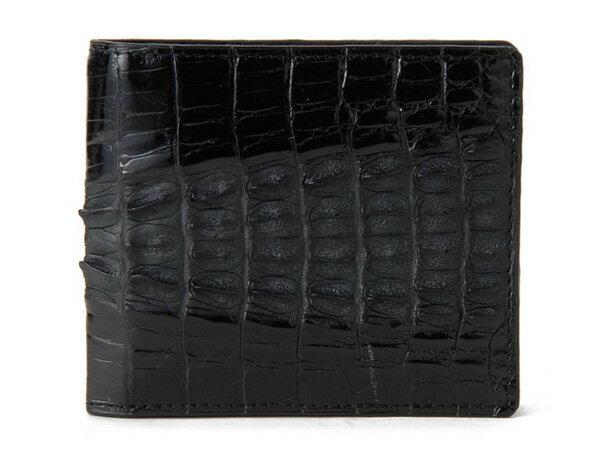 baf9284bd385 ロダニア RODANIA ワニ 二つ折り財布 カイマン ワニ CJN0214BKMT ブラック 光沢&マット仕上げ 高級皮革