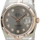 ROLEXロレックスデイジャスト116231G-GYダイヤモンド10Pグレー×ピンクゴールドメンズ腕時計