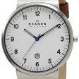 スカーゲン SKAGEN メンズ 腕時計 SKW6082 KLASSIK Leather クラッシック レザー ホワイト ブラウン レザーベルト 革ベルト
