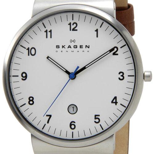 スカーゲン SKAGEN メンズ 腕時計 SKW6082 KLASSIK Leather クラッシック レザー ホワイト ブラウ...
