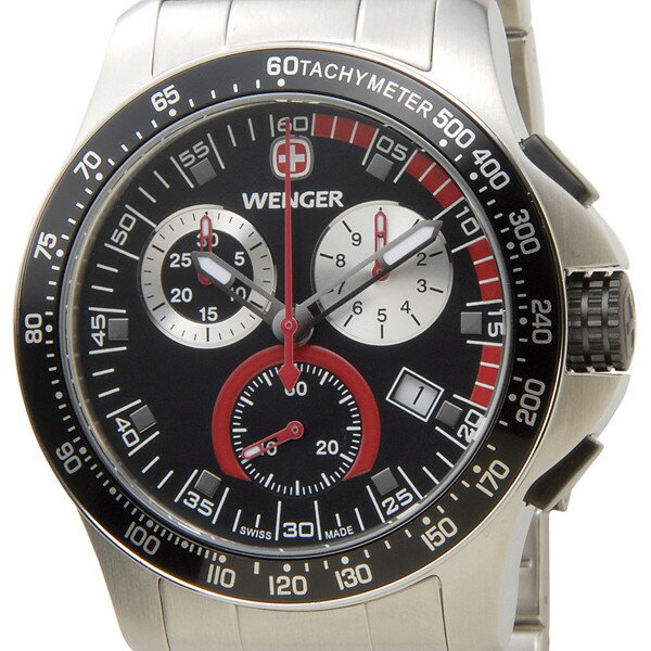 訳あり 化粧箱へこみサビあり ウェンガー WENGER 70798 メンズ腕時計 バタリオン クロノ ブラック/シルバー ミリタリー アウトドア 新品