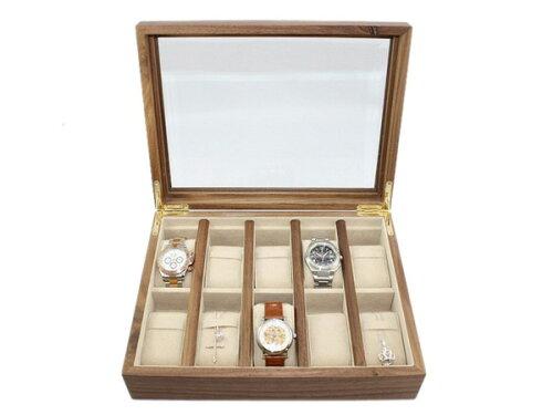木製時計収納ケース 時計コレクションケース BR ブラウン 10本用 ウォールナット木製10本用 BOX 収...