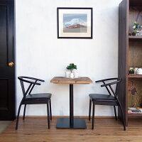 【古材カフェテーブルヘリンボーン】インテリア古材テーブルカフェテーブル2人掛け60060スチール天板四角正方形柄模様ヘリンボーンブラウンインダストリアルブルックリンヴィンテージアンティークオリジナルデザインおしゃれ送料無料