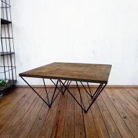 【古材コーヒーテーブルジオメトリー】古材テーブルコーヒーテーブルローテーブルセンターテーブル80800スチール柄模様幾何学正方形四角インダストリアルブルックリンヴィンテージオリジナルデザイン送料無料