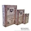【ブックボックス NEW HAVEN CONN】ブックボックス フェイクブック シークレットボックス アンティーク調 古びた レトロ 洋書 小物入れ 収納 本型 ふた付き セット ニューヘイブン デザイン ディスプレイ おしゃれ 送料無料