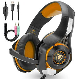 色:オレンジ色 有線 ゲーミングヘッドセット マイク付き ヘッドフォン 軽量 ゲームヘッドセット 高音質 ヘッドホン PC用ヘッドセット ps4 xboxone xbox360 switch 等対応 プレゼント 女性 男性 子