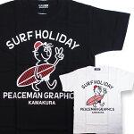 PEACEMANGRAPHICSサーフピースオヤジプリントTシャツ/PG101003