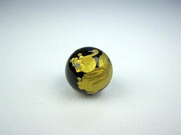 【粒売り:貔貅(ヒキュウ)】オニキスΦ12±0.2mm【左向き:ゴールド】