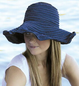 【欧米で大人気♪オーストラリア皮膚癌財団認定】 UVカット 帽子(女性用) - レディース サン ハット - ファブリック スクランチ ハット カラー:ネイビー【アウトレット】