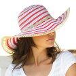 UVカット 帽子(女性用) - 帽子 レディース ハット つば広 帽子- ツートーン リボン キャプリーヌ レデイース ladies レディス 夏 UV 帽子 カラー:レッド※紫外線カット(UVカット)最高値UPF50+ 母の日 ギフト