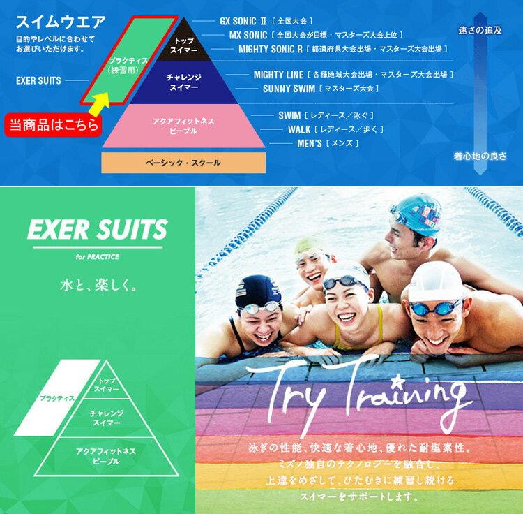 【85OP357】MIZUNO(ミズノ)レディース競泳練習水着EXERSUITSU-Fitハーフスーツ